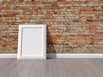 Red brick wall. Empty room with red brick wall and wooden floor Stock Image