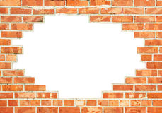 Red brick wall with gap. Red brick wall with white break through, background design Royalty Free Stock Image