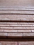 Red Brick Wall with grooves going upward Stock Images