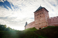 The red brick wall of kremlin of Great Novgorod Royalty Free Stock Images