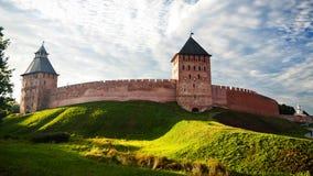 The red brick wall of kremlin of Great Novgorod Royalty Free Stock Photography