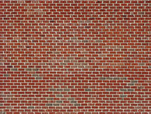 Red Brick Wall. A large area red brick wall with light colored mortar Royalty Free Stock Photo