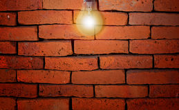 Red Brick Wall and Light Bulb royalty free stock photo