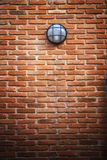 Red brick wall and light lamp Royalty Free Stock Images