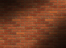 Red Brick Wall Lit Diagonally Stock Photography