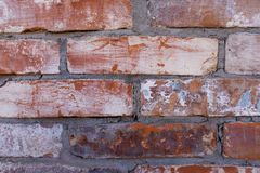 Red brick wall old dirty with peeling plaster. Dilapidated facade of the building with damaged plaster. Abstract banner. Brickwork. Background. Texture. Close royalty free stock images