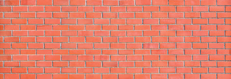 Red Brick Wall Panorama large panoramic background Royalty Free Stock Photography