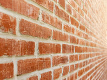 Red Brick Wall POV Left to Right. Forced visual perspective of red brick wall viewed in extreme close-up Royalty Free Stock Images