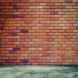 Red brick wall and room interior with floor concrete vintage Stock Images