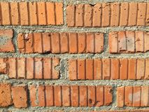Red brick wall, 60`s building royalty free stock photo