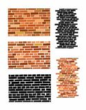 Red brick wall. Red brick wall seamless Vector illustration background - texture pattern for continuous replicate Stock Photo