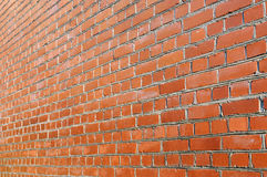 Red brick wall side view Royalty Free Stock Photo