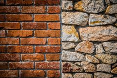 Red brick wall and stone wall background. Of colorful stones with HDR effect Royalty Free Stock Photos