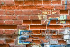Red brick wall texture. Close up of brick wall background royalty free stock photography
