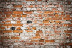 Red brick wall texture grunge background with vignetted corners, may use to interior design Stock Photo