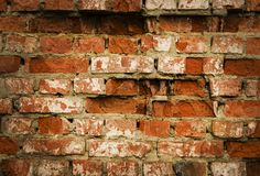 Red brick wall texture grunge background with vignetted corners, may use to interior design Stock Images