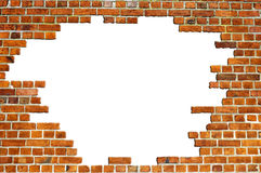 Red Brick Wall Texture with hole Royalty Free Stock Image