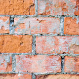 Red brick wall texture macro closeup, old aged detailed rough grunge cracked textured bricks copy space background, grungy Stock Image