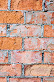 Red brick wall texture macro closeup, old detailed rough grunge cracked textured bricks copy space background, grungy weathered Stock Image