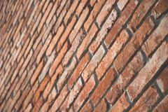 Red brick wall texture in perspective view with film matt effect Royalty Free Stock Image