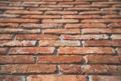 Red brick wall texture in perspective view with film matt effect Stock Image
