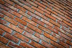 Red brick wall texture in perspective view. Red brick wall texture grunge background with HDR effect in perspective view. Selective focus Stock Photos