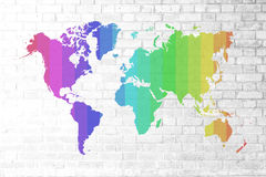Red Brick wall texture Soft tone colorful world map Royalty Free Stock Image
