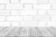 Red Brick wall texture surface with Wood terrace Stock Images