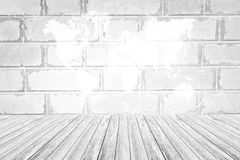 Red Brick wall texture surface with Wood terrace and world map Stock Photos