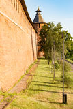 Red brick wall and tower of fortress Royalty Free Stock Images