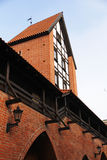 Red brick wall and tower in Old Riga Royalty Free Stock Photography