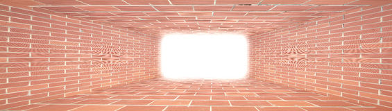 Red Brick wall tunnel with light. Abstract for designer Stock Image