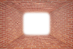 Red Brick wall tunnel with light. Abstract for designer Stock Images