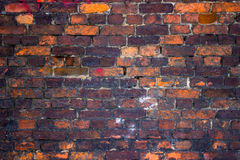 Red brick wall, urban exterior, ancient weathered surface Stock Images