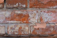 Red brick wall with white paint. texture, background, design royalty free stock photo