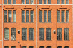 Red brick wall & windows. Industrial landscape. Norrkoping. Sweden Royalty Free Stock Images