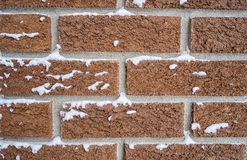 Free Red Brick Wall With Snow Stock Images - 107906244