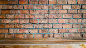Red brick wall and wood floor background ,room interior vintage Royalty Free Stock Photos
