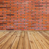 Red brick wall and wood perspective Stock Images