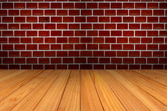 Red brick wall and wood texture Royalty Free Stock Images