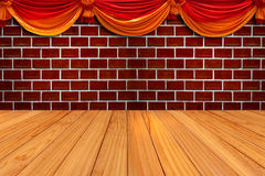 Red brick wall and wood texture Stock Photo