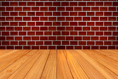 Red brick wall and wood texture Stock Photos
