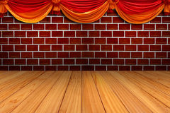 Red brick wall and wood texture Royalty Free Stock Photography