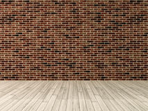 Red brick wall with wooden floor rendering. Interior red brick wall decoration, interior wall pattern and background Royalty Free Stock Photography