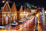 Red Brick Warehouses of Hakodate, Japan Royalty Free Stock Photography