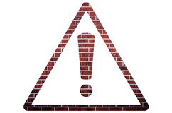 Red brick warning sign on a white isolated background royalty free stock photos