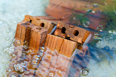 Red brick in water. Red Brick in the water for fish pond decoration Royalty Free Stock Images