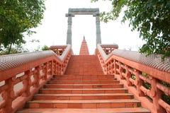 Red brick way Stock Photo