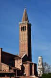 Red brick and white marble belfry in Verona Royalty Free Stock Images