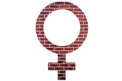 Red brick womens sign on white isolated background royalty free stock images